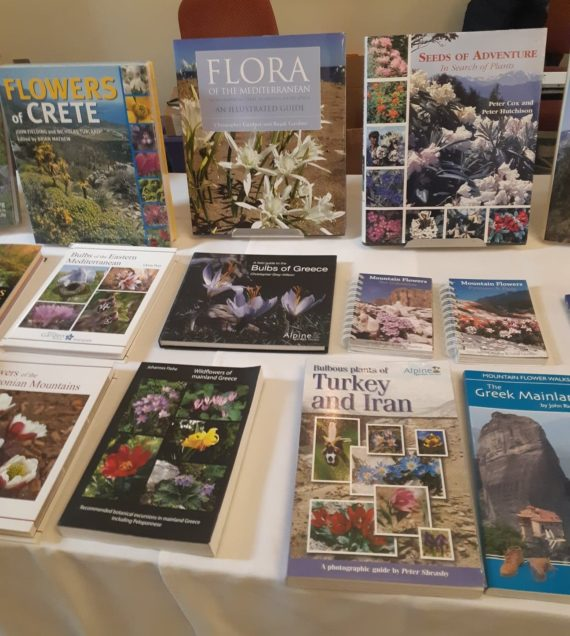 Some of the books on sale - including the biggest seller of the weekend: Flora of the Mediterranean