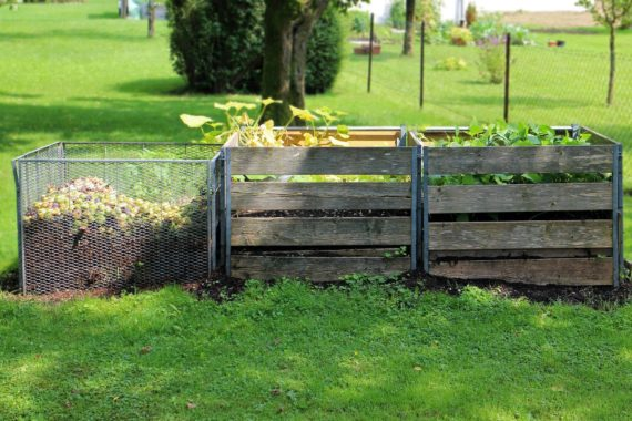 Compost bins in garden with mesh composting frame